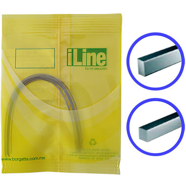 Arcos de Níquel Titanio NiTi en forma rectangular o cuadrada de la marca iLine Borgatta. Deposito Dental Dentalmex Online