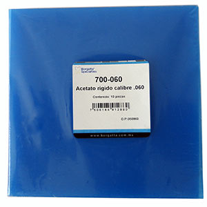 Acetatos rígidos calibre .060 de la marca Borgatta. Deposito Dental Dentalmex Tienda Online